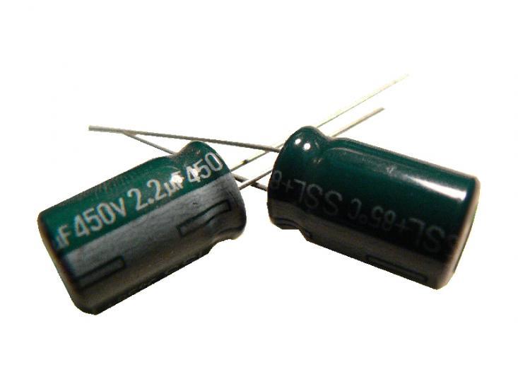 kondenzátor 2,2uF/450V 85°C (zelený)