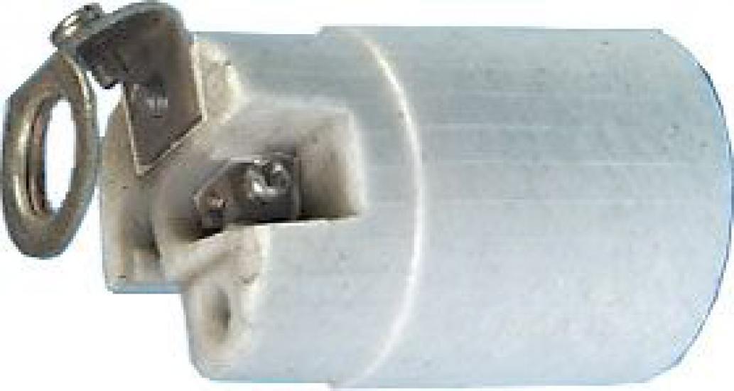 Objímka E14 keramická s úchytem