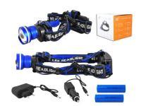 Svítilna čelová LED 8W / 2x Li-Ion18650 komplet modrá