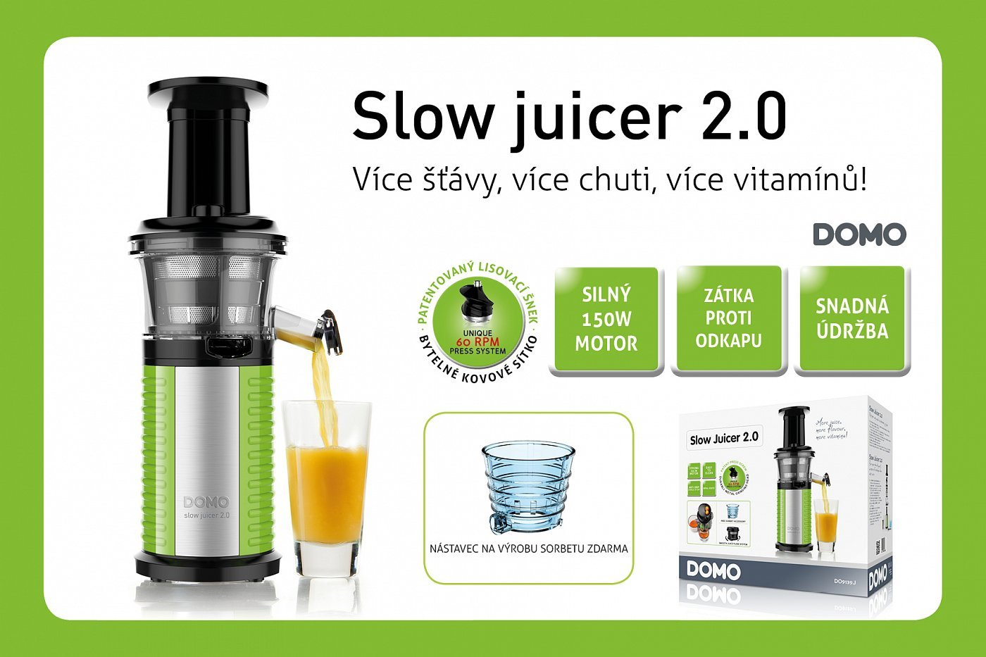 DOMO DO9139J od??av?ova? Slow Juicer 2.0 Helkon.cz